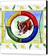 Boxer Dog Christmas Canvas Print by Olde Time  Mercantile