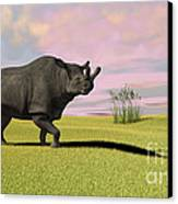 Brontotherium Grazing In Prehistoric Canvas Print by Kostyantyn Ivanyshen