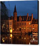 Bruges Rozenhoedkaai Night Scene Canvas Print by Kiril Stanchev