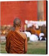 Buddhist Monk At Lumbini In Nepal Canvas Print by Robert Preston
