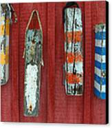 Buoys At Rockport Motif Number One Lobster Shack Maritime Canvas Print by Jon Holiday