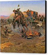 Camp Cook's Troubles Canvas Print by Charles M Russell