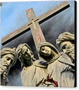Christ On The Cross With Mourners St. Joseph Cemetery Evansville Indiana 2006 Canvas Print by John Hanou