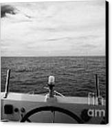 Controls On The Flybridge Deck Of A Charter Fishing Boat In The Gulf Of Mexico Out Of Key West Flori Canvas Print