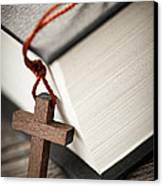 Cross And Bible Canvas Print by Elena Elisseeva