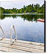Dock On Calm Lake In Cottage Country Canvas Print