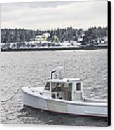Fishing Boat After Snowstorm In Port Clyde Harbor Maine Canvas Print by Keith Webber Jr