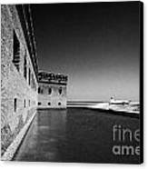 Fort Jefferson Brick Walls With Moat Dry Tortugas National Park Florida Keys Usa Canvas Print