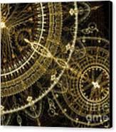Golden Abstract Circle Fractal Canvas Print by Martin Capek