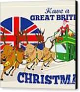 Great British Christmas Santa Reindeer Doube Decker Bus Canvas Print by Aloysius Patrimonio