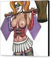 Harley Quinn Canvas Print by Leida  Nogueira