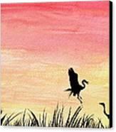 Herons At Sunset Canvas Print by Prashant Shah