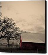 Horse Barn In Red  Canvas Print by Garren Zanker