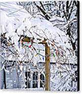 House Under Snow Canvas Print by Elena Elisseeva