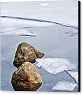 Icy Shore In Winter Canvas Print
