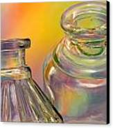 Ink Bottles On Color Canvas Print by Carol Leigh