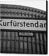 Kurfurstendamm Street Sign Berlin Germany Canvas Print
