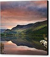 Llyn Nantlle At Sunrise Looking Towards Mist Shrouded Mount Snow Canvas Print by Matthew Gibson