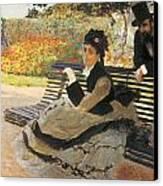 Madame Monet On A Garden Bench Canvas Print
