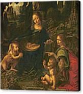 Madonna Of The Rocks Canvas Print by Leonardo da Vinci