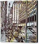 Manhattan On Map Canvas Print by William Cauthern