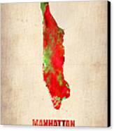 Manhattan Watercolor Map Canvas Print by Naxart Studio