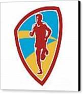 Marathon Runner Shield Retro Canvas Print by Aloysius Patrimonio