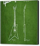 Mccarty Gibson Stringed Instrument Patent Drawing From 1958 - Green Canvas Print by Aged Pixel