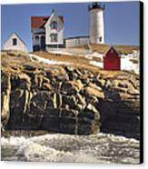 Nubble Lighthouse 3 Canvas Print by Joann Vitali
