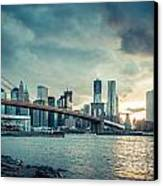 Nyc Skyline In The Sunset V1 Canvas Print by Hannes Cmarits