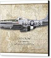 Old Crow P-51 Mustang - Map Background Canvas Print