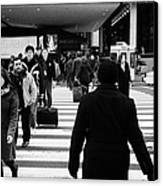 Pedestrians Crossing Crosswalk Carrying Luggage On Seventh 7th Ave Avenue  Canvas Print by Joe Fox