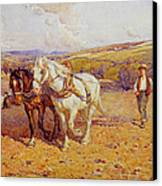 Ploughing Canvas Print by Joseph Harold Swanwick