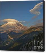 Rainier Capped Canvas Print by Mike  Dawson