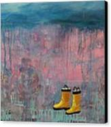 Rainy Day Galoshes Canvas Print by Guenevere Schwien