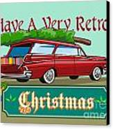 Retro Christmas Tree Station Wagon Canvas Print by Aloysius Patrimonio