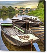 Rowboats On The French Canals Canvas Print by Debra and Dave Vanderlaan