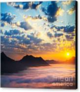 Sea Of Clouds On Sunrise With Ray Lighting Canvas Print