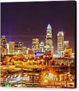 Skyline Of Uptown Charlotte North Carolina At Night Canvas Print by Alex Grichenko