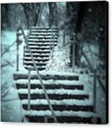 Snowy Stairway Canvas Print