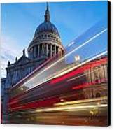 St. Pauls Cathedral And Light Trails Canvas Print by Mark Thomas