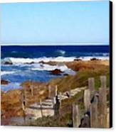 Steps To The Sea Canvas Print by Barbara Snyder
