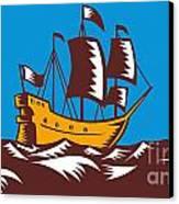 Tall Sailing Ship Retro Woodcut Canvas Print