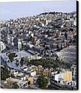 The Roman Theatre In The Middle Of The City Of Amman Jordan Canvas Print by Robert Preston