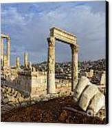The Temple Of Hercules And Sculpture Of A Hand In The Citadel Amman Jordan Canvas Print by Robert Preston