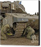 Track Replacement On A Israel Defense Canvas Print by Ofer Zidon