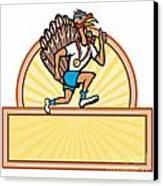 Turkey Run Runner Side Cartoon Isolated Canvas Print by Aloysius Patrimonio