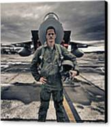 U.s. Air Force Pilot Standing In Front Canvas Print by Terry Moore
