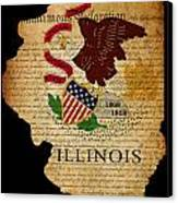 Usa American Illinois State Map Outline With Grunge Effect Flag  Canvas Print by Matthew Gibson