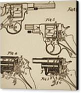 Vintage Colt Revolver Drawing  Canvas Print